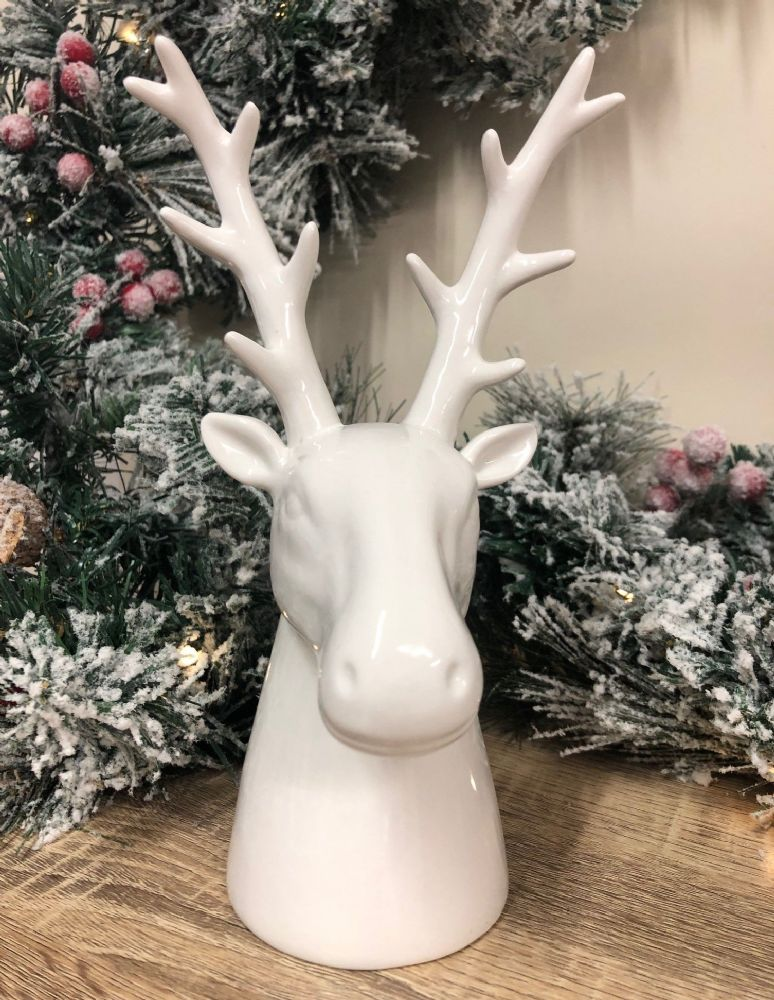 22cm White Ceramic Reindeer Bust Home Decorative Christmas Ornament